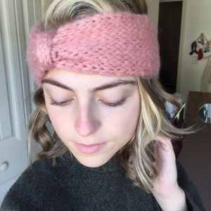 Pink Knit Sweater Turban